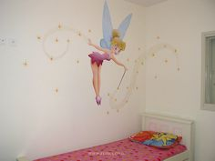 <b>Wall</b> <b>painting</b> in <b>baby</b> rooms - Fairy Tinkerbell from Peter Pan story ...