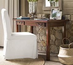 Bramwell Writing Desk #potterybarn This would look awesome in the office. Minimal drawers = minimal junk collection.
