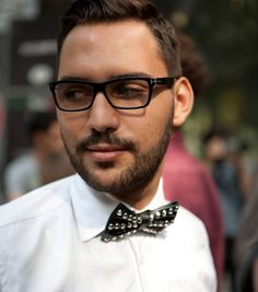 Studded black bow tie.