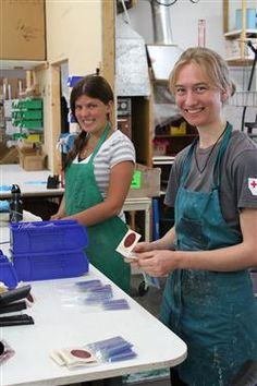 Desiree & Lara making Honey Candles® Beeswax Birthday Candles in our shop