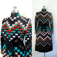1970s Designer Abstract Art Dress // Adele by rileybellavintage