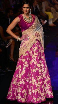 WOW! Magenta half saree with velvet blouse and cream dupatta - <3