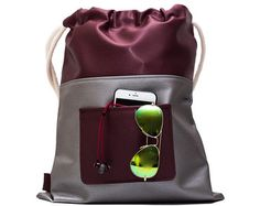 large drawstring bag, Rucksack, festival backpack, chic backpack, made from vegan leather