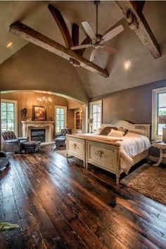 I love these floors and the rafters in this bedroom French Master Bedroom, Country Master Bedroom, Master Suite Bedroom, Romantic Country Bedrooms, Beautiful Master Bedrooms, Romantic Master Bedroom Ideas, Master Suite Layout, Cozy Bedroom, Master Suite Floor Plan