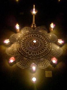 Kolam with lamps