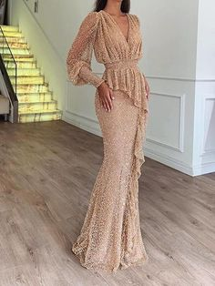 Long Sleeve Floor-Length V-Neck Batwing Sleeve Bodycon Dress Elegant Dresses For Women, Beautiful Dresses, Bodycon Dress With Sleeves, Dresses With Sleeves, Sleeve Dresses, Evening Dresses, Prom Dresses, Casual Dresses, Floral Dresses