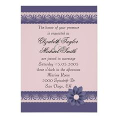 Luxury Blue Floral Style Wedding Invite
