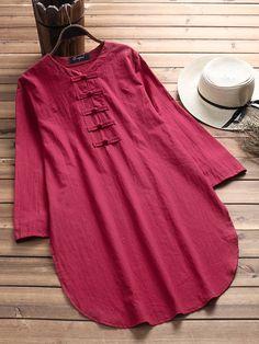 Vintage Pure Color Side Split Frog Long Sleeve Shirt for Women