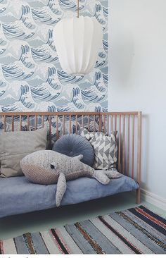 Children& room in gray, blue, white. The baby room is comfortably furnished without . - Baby room decoration - Children& room in gray, blue, white. The baby room is comfortably furnished without … - Baby Bedroom, Baby Room Decor, Nursery Room, Bedroom Decor, Whale Nursery, Bedroom Ideas, Bedroom Lighting, Wall Paper Nursery, Nursery Themes