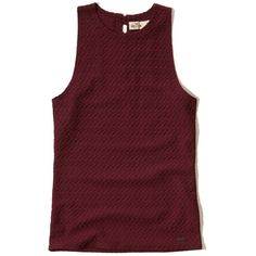 Hollister Textured Twist-Back Tank ($15) ❤ liked on Polyvore featuring tops, burgundy, twist back tank, high neck tank, red tank top, twist back tank top and strappy tank top