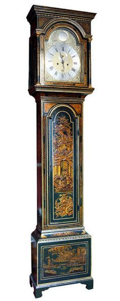 A Lacquer Longcase Clock by WALTER MICHELL : 1760 Plymouth A green lacquer longcase clock with an eight-day duration, five pillar movement of London quality, striking the hours on a bell. The twelve-inch break-arch brass dial has a raised silvered chapter ring engraved with black Roman numerals,