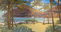 Makapuu Beach with Palms  | by Russell Lowrey #RussellLowrey #MixedMedia #CedarStreetGalleries
