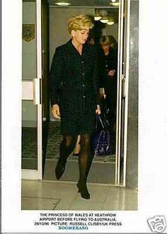 1996 Princess Diana at Heathrow Airport for her flight to Australia.