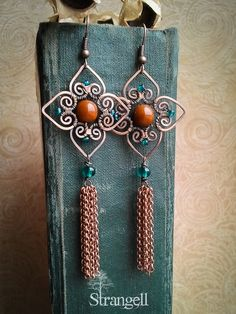 Ideas jewerly design art copper earrings for 2019 Wire Wrapped Earrings, Copper Earrings, Diy Earrings, Copper Jewelry, Earrings Handmade, Fringe Earrings, Copper Wire, Ear Jewelry, Beaded Jewelry