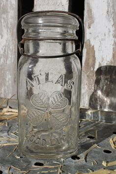 """Vintage """"Atlas Good Luck"""" Four Leaf Clover Canning Jar - Quart - Square Shape - Glass lid with bail closure -  Rustic Farmhouse Style - on Etsy, $18.50"""