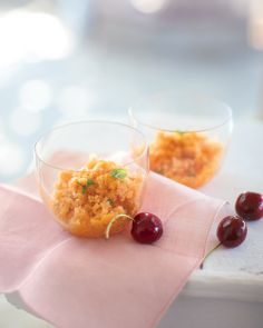 Peach Granita - To make this slushy summer treat, simply puree ripe peaches with sugar, water, and a little lemon juice. Freeze the mixture in a square baking dish, scraping with a fork every hour to keep it fluffy, and stir in fresh basil before serving, if you like.