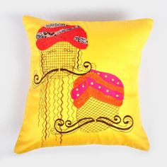 Yellow embroidered and patchwork cushion cover - Indian August