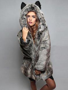 Ears Cartoon Hooded Faux Fur Coat