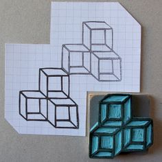 Geometric hand carved rubber stamp of three cubes. by CassaStamps, $11.00