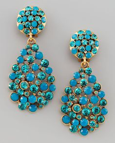Oscar De La Renta Blue Multistone Teardrop Earrings