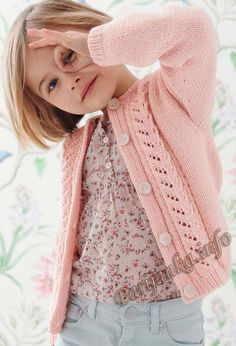 Жакет (д) 02*141 Phildar №5033 Knitted Squares Pattern, Baby Cardigan Knitting Pattern, Knit Patterns, Free Childrens Knitting Patterns, Knitting For Kids, Knitting Designs, Kids Winter Fashion, Girls Sweaters, Kids Outfits