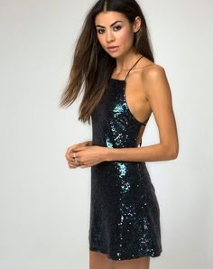 Embrace the mermaid fashion trend with sequin sass! This winnie dress in petrol sequin is a fantasy come true! In an mini A-Line fit and backless strap detail it just needs a pair of killer heels to complete the party look.