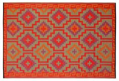 One Kings Lane - The Life of the Patio - Lhasa Plastic Outdoor Rug, Orange