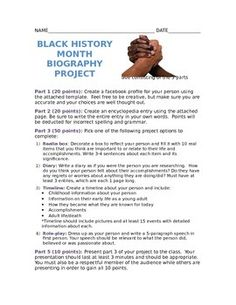This is a 3 part project. The freebie contains a project description page for students and templates for parts 1 and 2.  Part 3 allows the student to choose 1 of 4 options and there is also a rubric for each option choice.  The project requires students to research an influential black person and use the information to create a Facebook page, encyclopedia entry, and one of the following: a relia box, diary, timeline, or speech as the person.