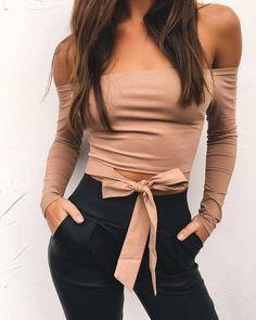 3420dcfdaf4 Off Shoulder Strapless Sexy Tops for Women Autumn Fashion Long Sleeve Slash  Neck Short T-shirt Women Bow Casual Crop Top Women