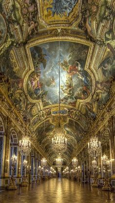Interior of the Palace of Versailles, France. I was lucky enough to visit Versailles while we were stationed in Belgium. Breathtaking!