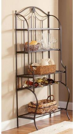 Decorative details, metal finish and space saving style makes this baker's rack a practical option, Hillsdale Furniture Camelot Baker's Rack