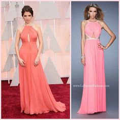La Femme 21145 ~ anna kendrick ~ oscars ~ long prom dress ~ cut outs ~ red carpet ~ celebrity style ~ pink prom dress ~ pitch perfect ~ mesh ~ rhinestones ~ open back ~ twilight ~ best dressed ~