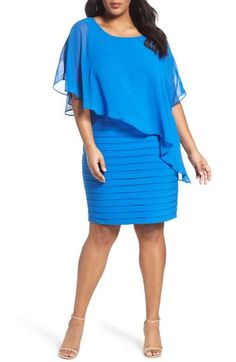 Main Image - Adrianna Papell Chiffon Overlay Shutter Pleat Sheath Dress (Plus Size) Plus Size Party Dresses, Trendy Dresses, Plus Size Outfits, Summer Dresses, Holiday Dresses, Nordstrom Jackets, Nordstrom Dresses, Lace Sheath Dress, Chiffon Dress