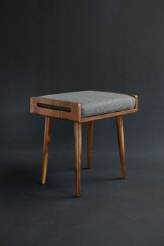 Stool / Seat / Ottoman / bench in solid Walnut board - Upholstery Ideas Wooden Furniture, Home Furniture, Furniture Design, Bench Stool, Ottoman Bench, Chair Design, Upholstery, Interior Design, Home Decor