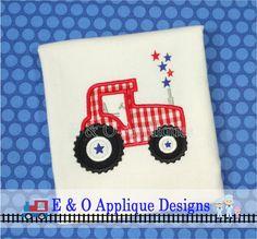 Tractor Stars Applique Digital Design  4th of by EandOApplique