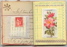 Yellow, red, and pink art journal pages.