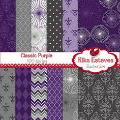 Classic Purple Digital Papers - Scrapbooking Paper - card design, invitations, stickers, paper crafts, web design - INSTANT DOWNLOAD
