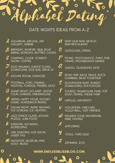 Looking for some ideas for date night? Why not try Alphabet Dating? This post ha. Looking for some ideas for date night? Why not try Alphabet Dating? This post has tons of date night ideas from A-Z so y. Marriage Tips, Happy Marriage, Love And Marriage, Relationship Advice, Relationship Challenge, Relationship Crafts, Quotes Marriage, Marriage Romance, Relationship Questions