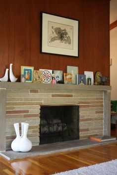 mid century homes fireplaces - Yahoo Image Search Results Midcentury Fireplaces, Modern Fireplace Mantels, Fireplace Art, Brick Fireplace Makeover, Mantles, Fireplace Ideas, Mid Century Modern Living Room, Mid Century Modern Decor, Mid Century House