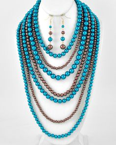 Gold Tone / Teal Blue Brown Synthetic Pearl / Lead Compliant / Multi Row / Necklace & Fish Hook Earring Set