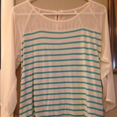 Lauren Conrad shirt Lauren Conrad shirt, size small. Has two bows on the back. 3/4 sleeve length. In great condition. Comes from a nonsmoking home and a pet free home. LC Lauren Conrad Tops Blouses
