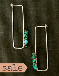 SALE  Sterling Silver Turquoise and Copper Rectrangle by CatMHorn, $42.25