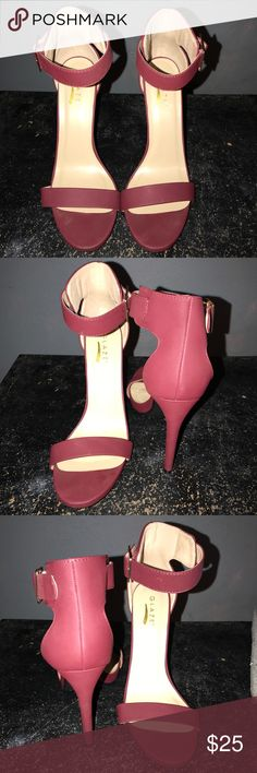 Glaze Open Toe Wine Heels Size 9  Shoe Description: Wine Open Toe Heels  - Size 9  - Color: Burgundy   - shoes are in good condition have only been used once.  - True to Size  - Heel is 5.5 In  ✨ Reasonable Offers Are Welcomed! ✨ glaze Shoes Heels