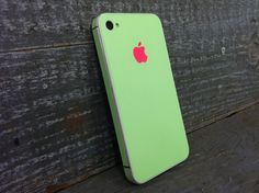 iPhone 4 4S Pink Green FULL SKIN WRAP by Iskinn on Etsy, $18.99