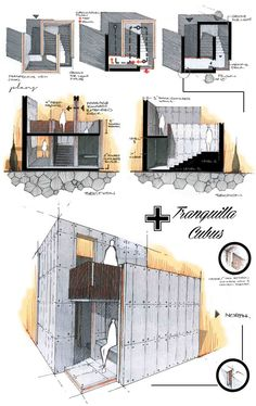 Tranquilla Cubus by Anique Azhar, via Behance Pictorial and Side Elevations
