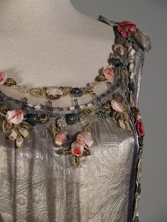 Mid-1920s, France - Detail of silver evening dress with ribbon work and sequins, attributed to Boué Soeurs