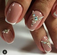 Nice 42 Popular Nail Art Designs Ideas With Stones For The Perfect Manicure. Cute Nail Art Designs, Short Nail Designs, Gem Nails, Hair And Nails, Cute Nails, Pretty Nails, Popular Nail Art, Gold Nail Art, Nail Art Supplies