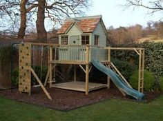 Childern Garden Playhouse With Slide And Swings : Outdoor Garden Playhouse For Kids