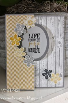 "Stampin' Up! Circle Card Thinlits Die + ""Hardwood"" and ""Petite Petals"" stamp sets..."