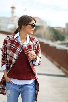 Adorable! Plaid coat and ripped boyfriend jeans